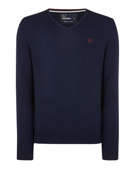 Fred Perry   Blue Classic V Neck Pull Over Sweater for Men   Lyst