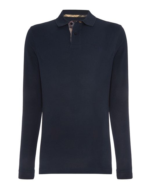 Barbour | Blue Long Sleeve Sports Polo Shirt for Men | Lyst