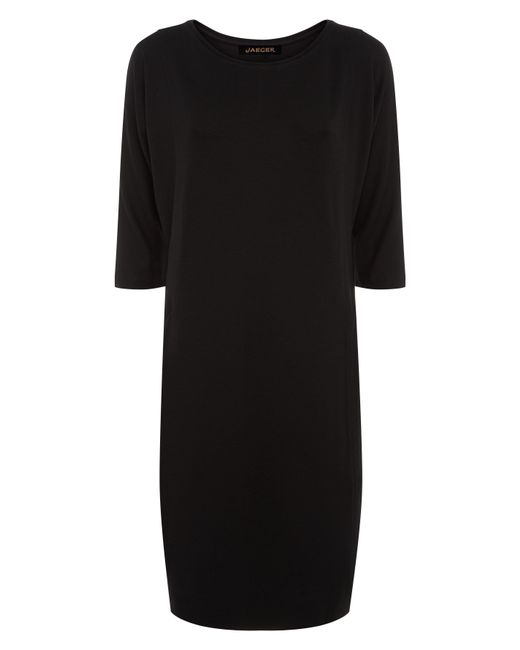 Jaeger | Black Jersey Seamed Detail Dress | Lyst