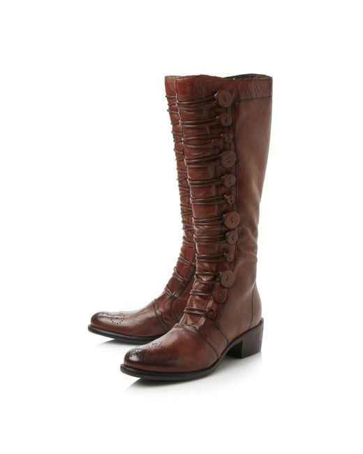 dune pixie button high boots in brown lyst