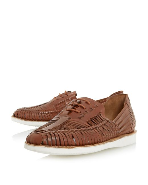 bertie bric white sole woven leather shoe in brown for