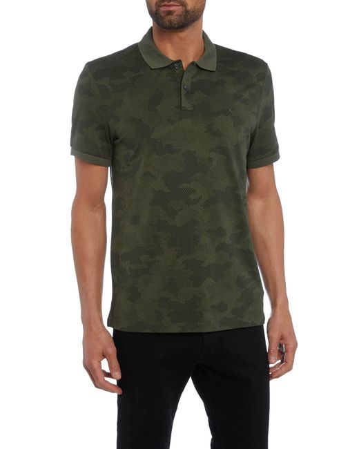 Michael kors slim fit digital camo printed polo shirt in for Camo polo shirts for men