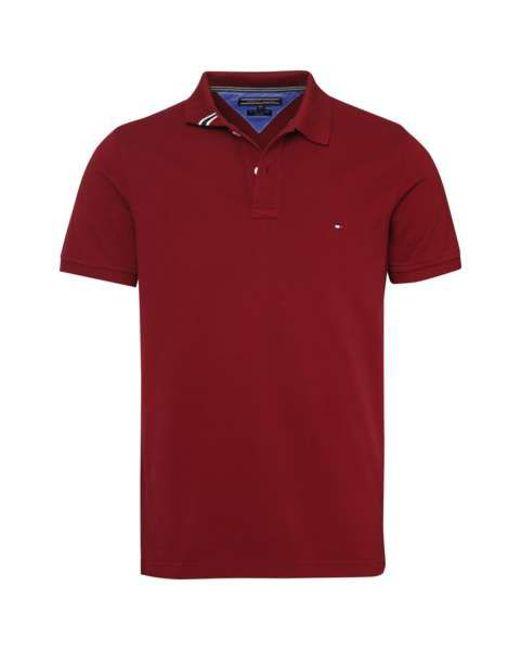 tommy hilfiger slim fit short sleeve polo top in red for. Black Bedroom Furniture Sets. Home Design Ideas