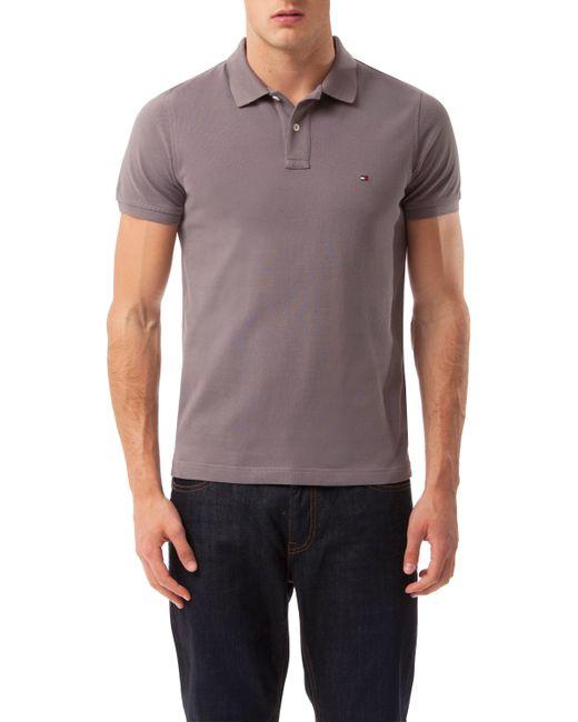 tommy hilfiger slim fit short sleeve polo top in grey for. Black Bedroom Furniture Sets. Home Design Ideas