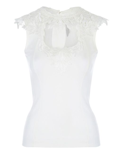 Jane Norman | White Sleeveless Brocade Top | Lyst