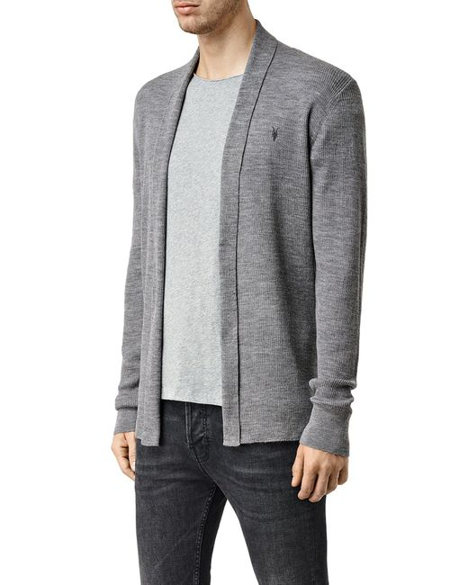 AllSaints | Gray Mode Merino Cardigan for Men | Lyst