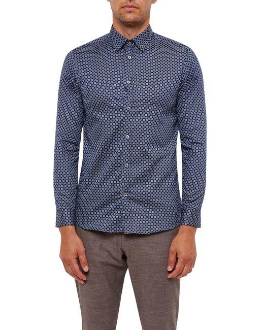 Ted Baker   Blue Lenons Geo Print Cotton Shirt for Men   Lyst