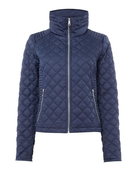 Andrew Marc | Blue Quilted Jacket With Zip Detail Sleeve | Lyst