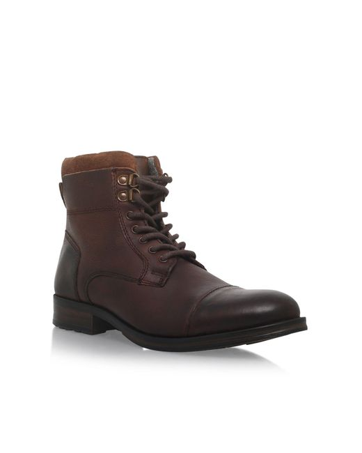 kg by kurt geiger hatfield flat lace up boots in brown for