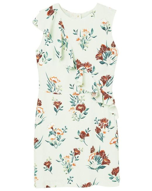 Mango | Green Floral Ruffled Dress | Lyst