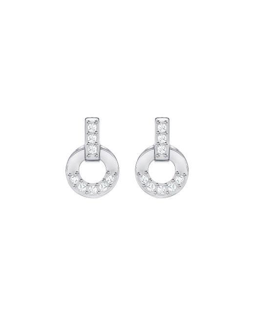 Swarovski | Metallic Circle Silvertone Stud Earrings | Lyst