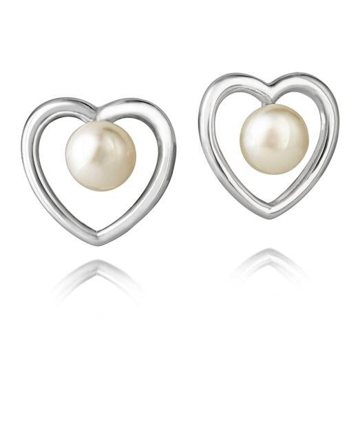 Jersey Pearl | Metallic Silver Heart Stud Earrings | Lyst