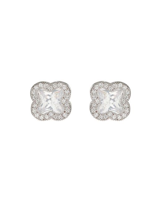 Mikey - Metallic Cross Square Cubic Stud Earring - Lyst