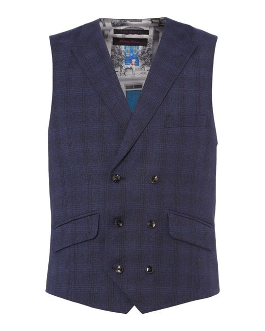 Ted Baker | Blue Pidgin Double Breasted Brushed Checked Waistcoat for Men | Lyst