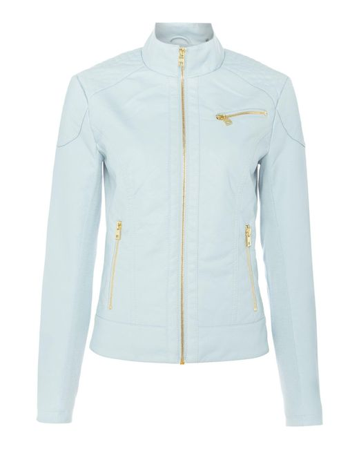 Andrew Marc | Blue Pu Jacket With Jersey Side Panels | Lyst