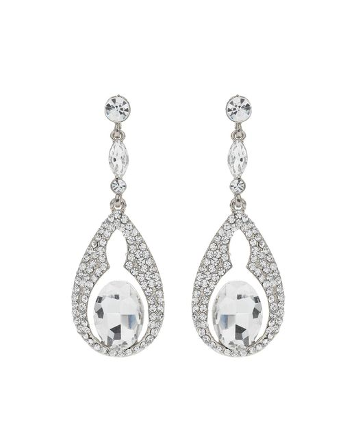 Mikey | Metallic Oval Design Crystal Stones Earring | Lyst