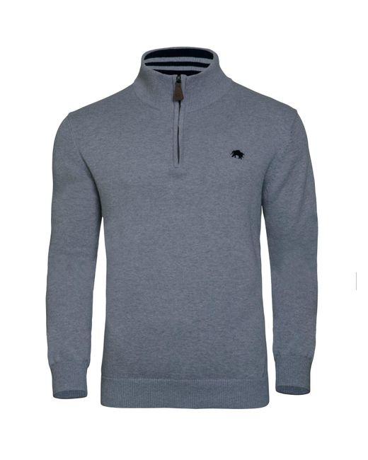 Raging Bull - Gray Signature Cotton / Cashmere Quarter Zip for Men - Lyst