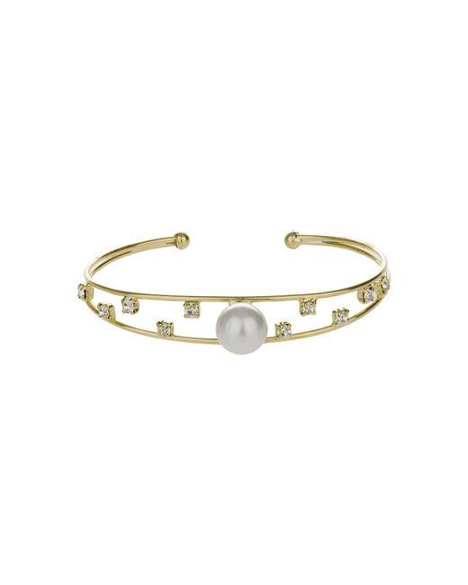 Mikey - Metallic Pearl Head Spread Cubic Cuff - Lyst