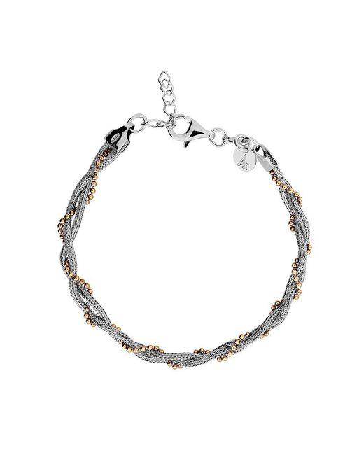 Azendi - Metallic Silver & Rose Vermeil Plaited Bracelet - Lyst