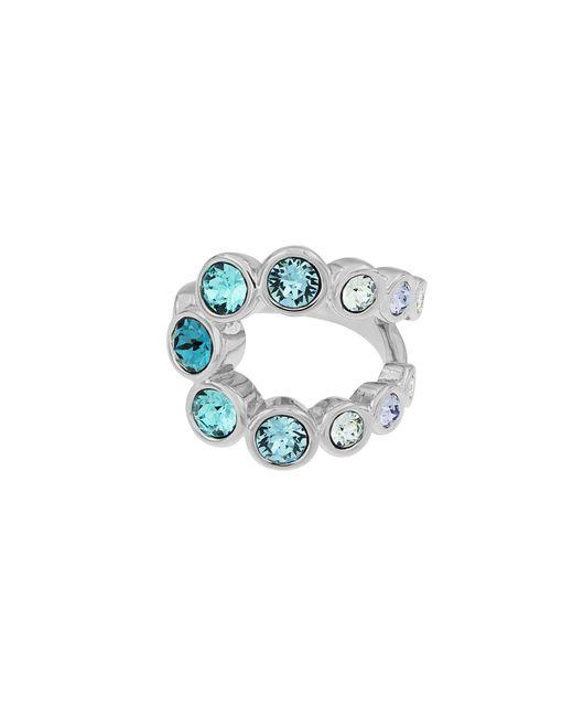 Aurora   Blue Rhodium Plated Crystal Bubble Ring   Lyst