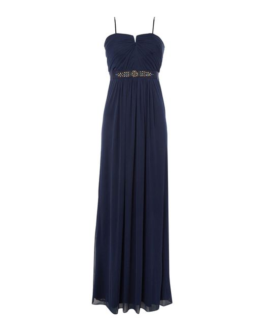 Adrianna Papell | Blue Strapless Beaded Waist Tulle Gown | Lyst