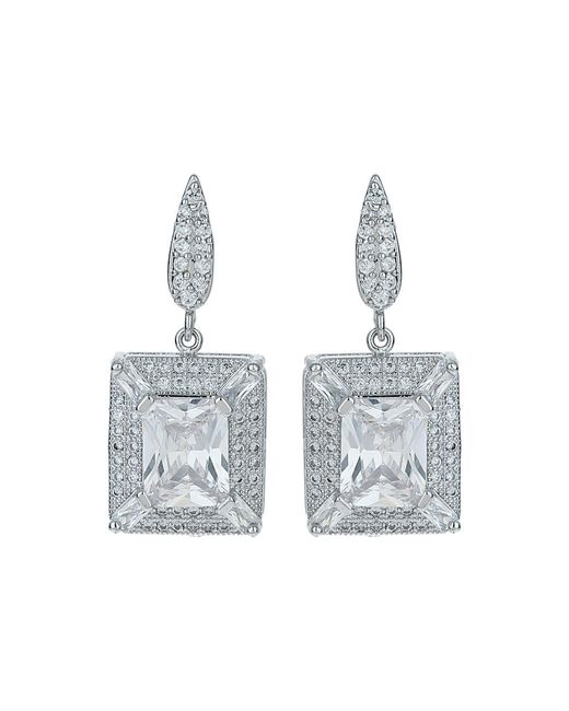 Mikey - White Cubic Square Centre Drop Earring - Lyst