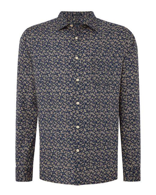 Howick - Blue Men's Connecticut Leaf Print Long Sleeved Shirt for Men - Lyst