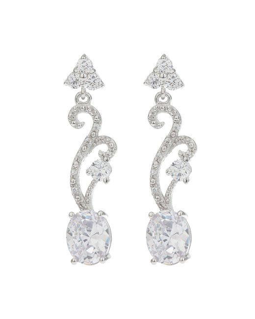 Mikey - White Twisted Drop Oblong Earring - Lyst