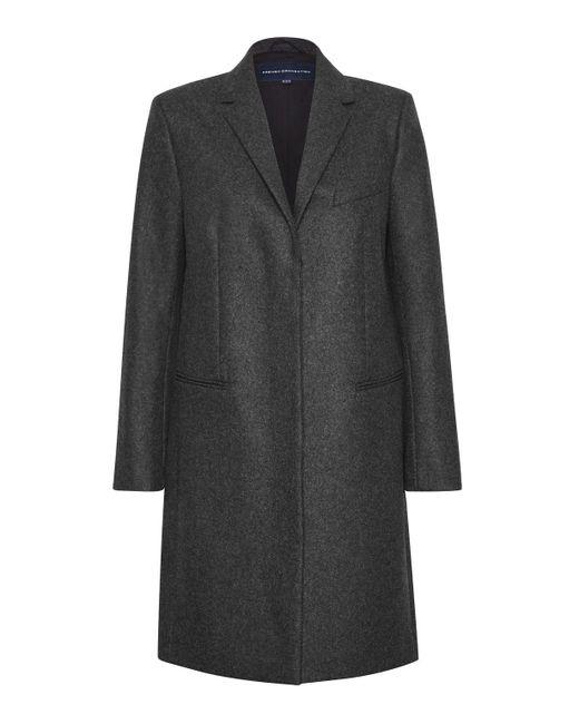 French Connection - Gray Platform Felt Wool Coat - Lyst
