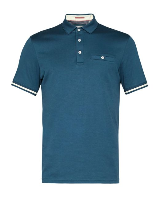 Ted Baker | Blue Stripe Cuff Cotton Polo Shirt for Men | Lyst