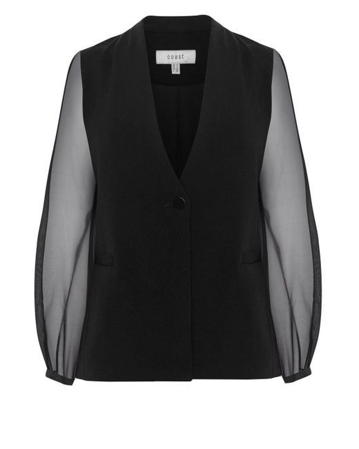 Coast | Black Olivia Organza Sleeve Jacket | Lyst
