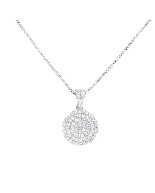 Azendi - Metallic Silver Pavé Circle Pendant - Lyst