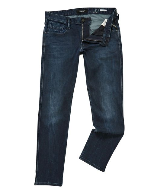 Replay   Blue Anbass Hyperflex Slim Fit Jeans for Men   Lyst