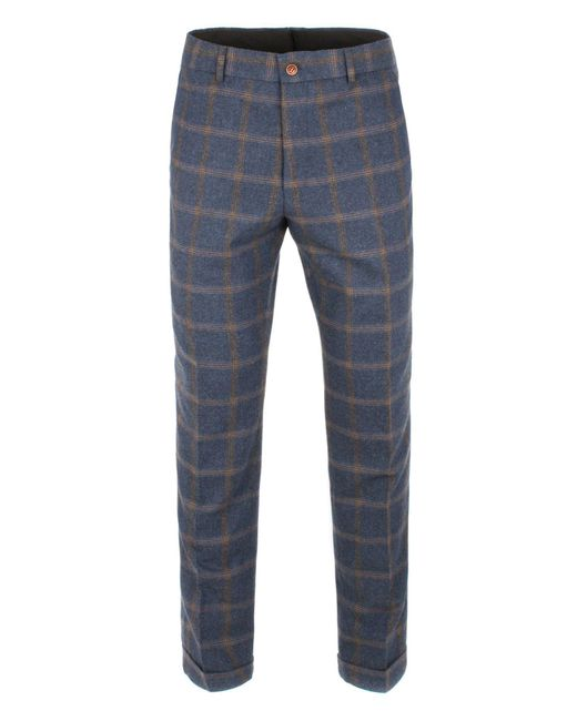 Gibson - Blue And Tan Check Trouser for Men - Lyst