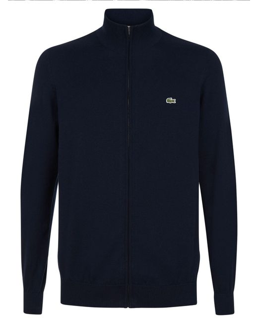 Lacoste - Blue Full Zip High Collar Sweater for Men - Lyst