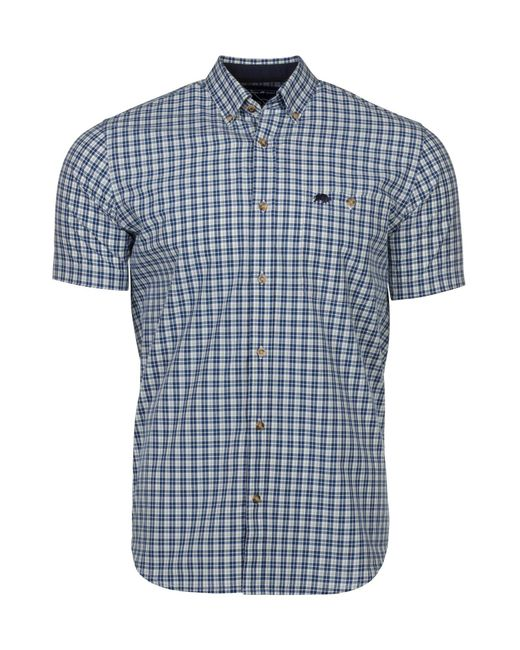 Raging Bull | Blue Men's Big & Tall Short Sleeve Small Check Poplin Shirt for Men | Lyst