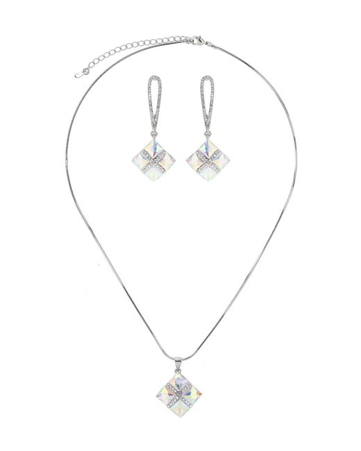 Mikey | Blue Square Design Necklace Earring Set | Lyst