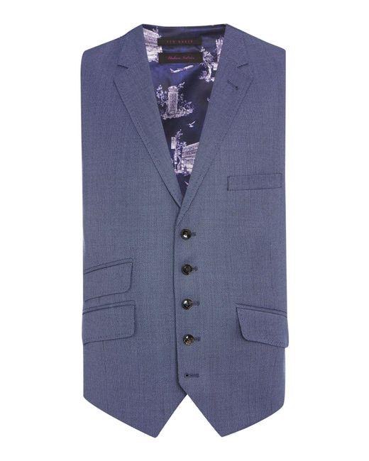 Ted Baker | Blue Modfox Navy Pindot Slim Fit Waistcoat for Men | Lyst