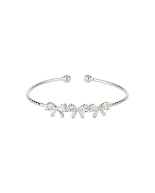 Mikey - White Triple Crystal Bow Plain Cuff Bangle - Lyst