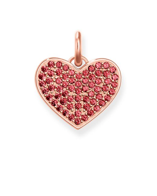 Thomas Sabo - Love Coin Red Zirconia Pavé Heart Pendant - Lyst
