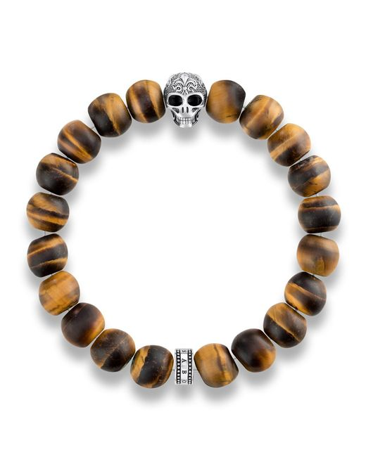 Thomas Sabo | Brown Rebel At Heart Skull Tiger`s Eye Bracelet for Men | Lyst