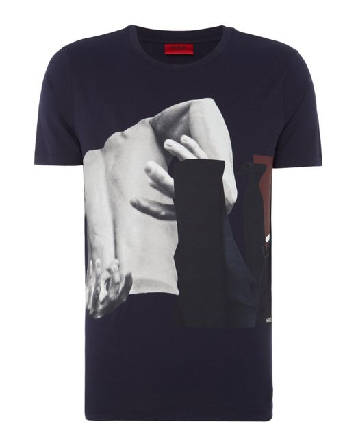HUGO | Blue Men's Dack Abstract Graphic T-shirt for Men | Lyst