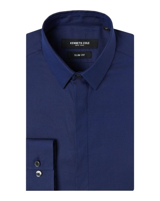 Kenneth Cole   Blue Men's Russell Slim Fit Textured Shirt for Men   Lyst