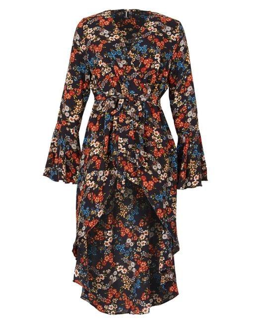 Izabel London | Multicolor Floral Bell Sleeve Midi Dress | Lyst