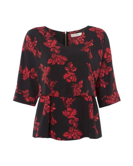 Biba - Red Rose Print Overlay Zip Back Blouse - Lyst