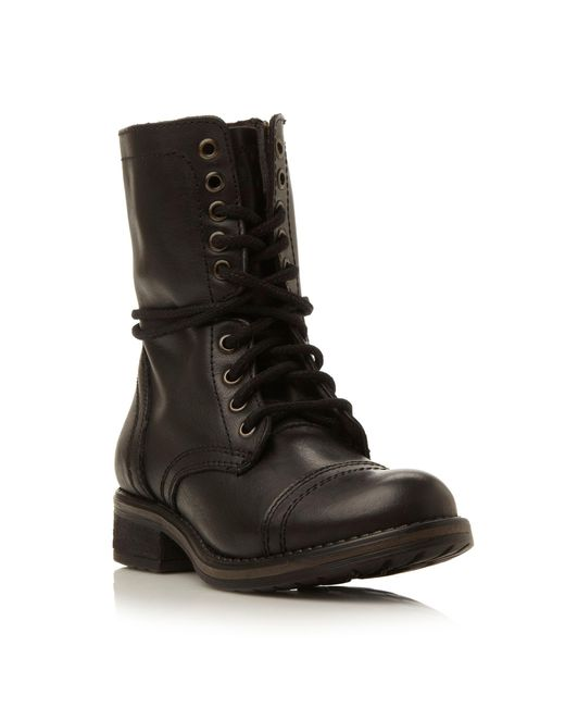 Steve Madden - Black Troopa 2.0 Sm Leather Lace Up Calf Boot - Lyst