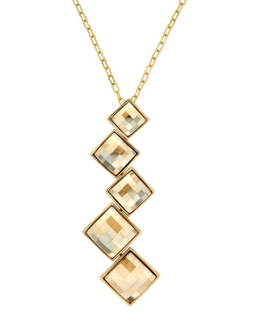 Aurora | Metallic Gold Plated Square Pendant | Lyst