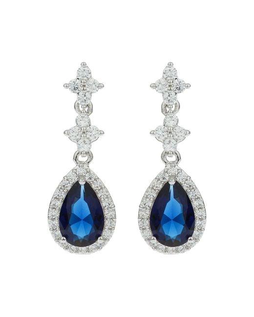 Mikey - Blue Oval Cubic Triple Drop Earring - Lyst