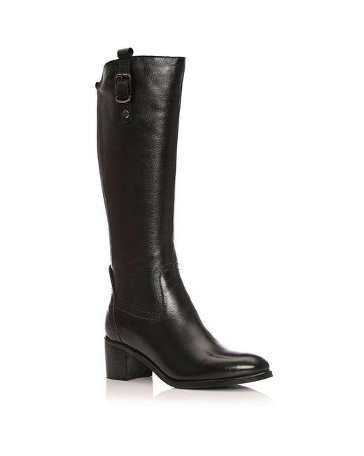 Moda In Pelle Black Tasso Low Smart Long Boots