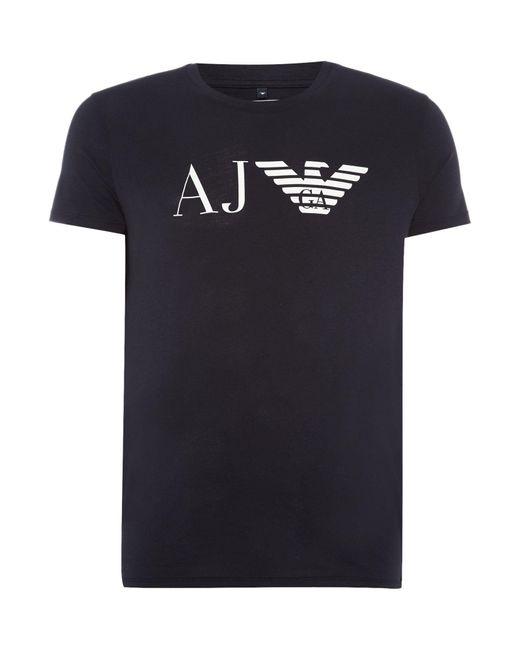 Armani Jeans | Blue Men's Regular Fit Aj Eagle Logo Printed T Shirt for Men | Lyst